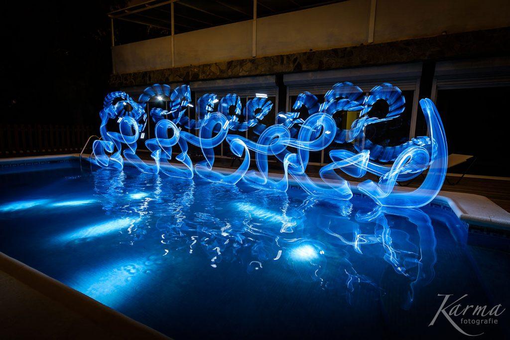 Lightpainting am Pool